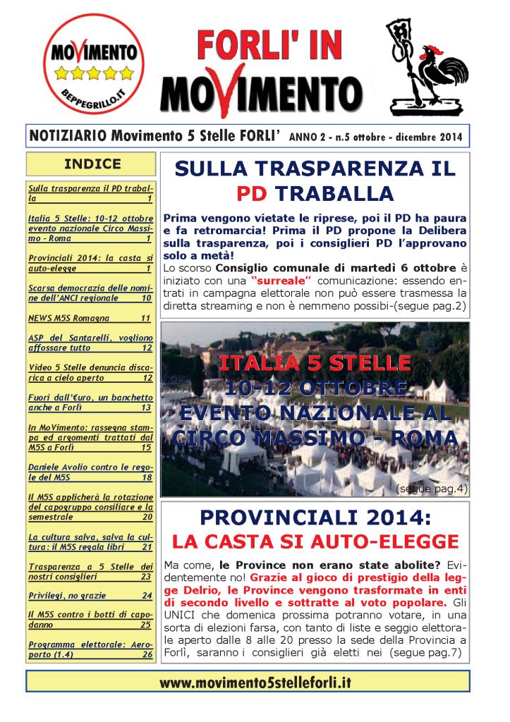5 Notiziario M5S FORLI Anno II n.5 ottobre - dicembre 2014 --1