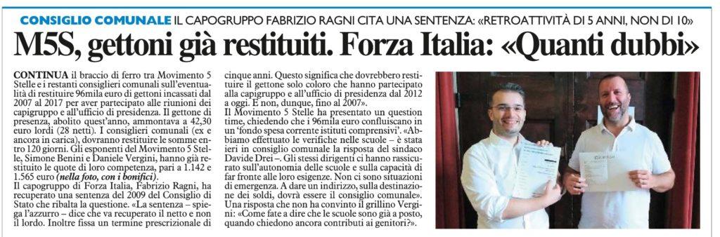 2017-09-13 - carlino - M5S gettoni giá restituiti. Forza Italia Quanti dubbi