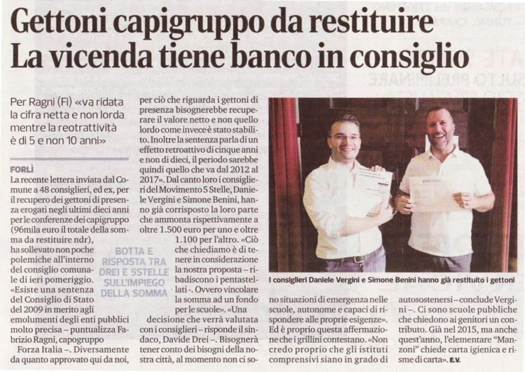 2017-09-13 - corriere - gettoni capigruppo da restituire tiene la vicenda banco in consiglio