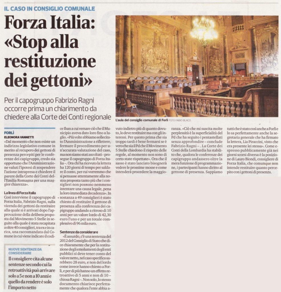 2017-09-16 - corriere - forza italia stop alla restituzione dei gettoni