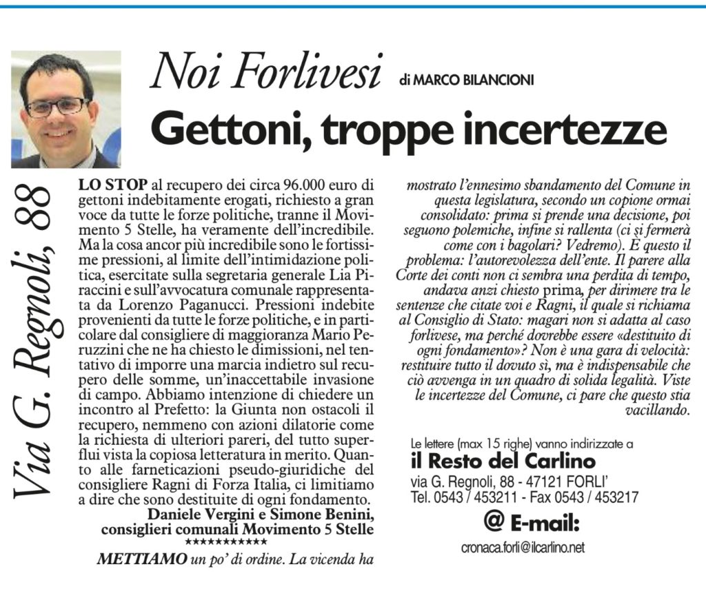 2017-09-17 - carlino - gettoni troppe incertezze
