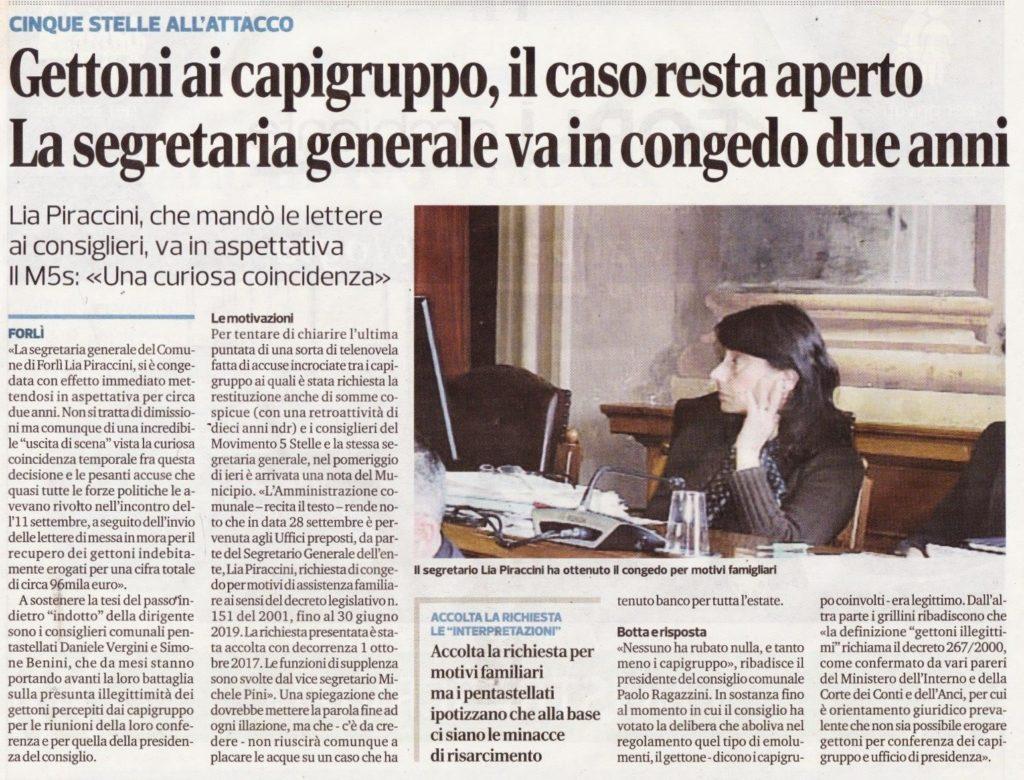 2017-10-04 - corriere - gettoni ai capigruppo il caso resta aperto. la segretaria generale va in congeto due anni