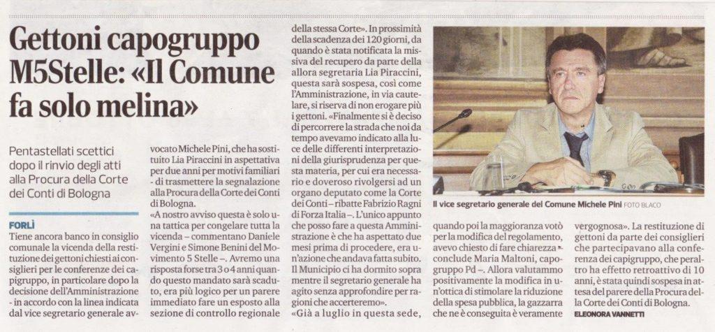 2017-10-11 - corriere - Gettoni M5Stelle il Comune fa solo melina