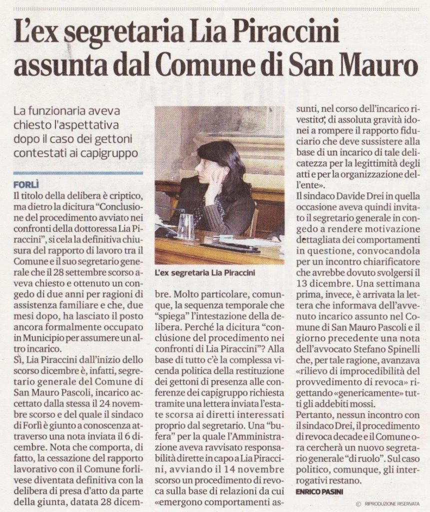2018-01-03 - corriere - l'ex segretaria Lia Piraccini assunta dal Comune di San Mauro