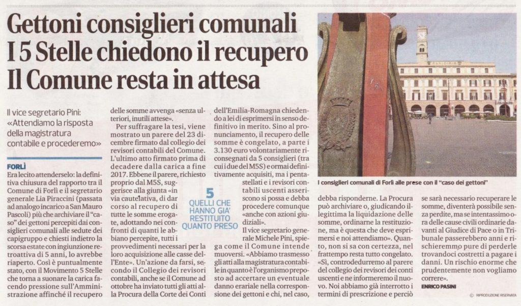 2018-01-06 - corriere - gettoni ai consiglieri comunali. i 5 Stelle chiedono il recupero il Comune resta in attesa