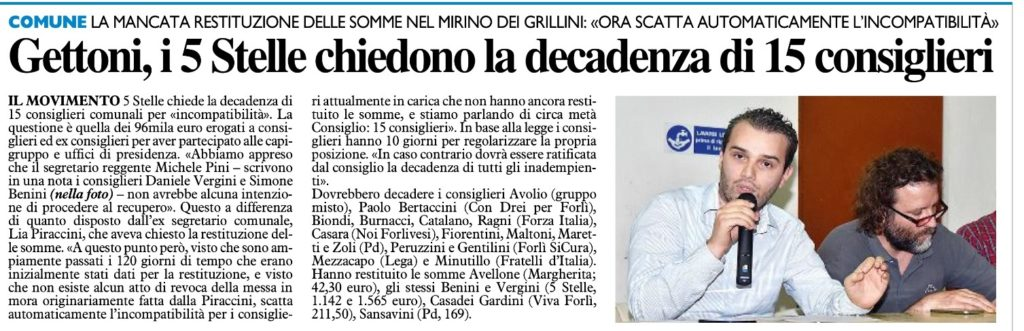 2018-01-11 - carlino - Gettoni, i 5 Stelle chiedono la decadenza di 15 consiglieri