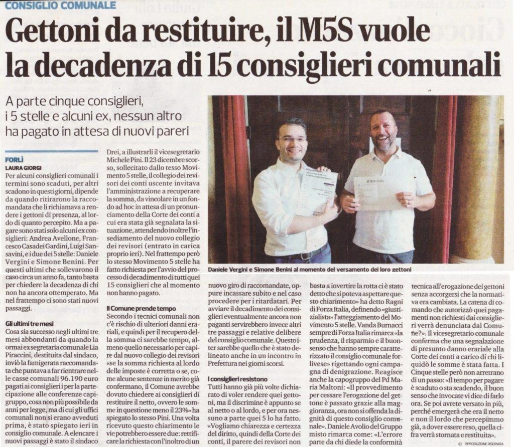 2018-01-17 - corriere - gettoni da restituire il M5S vuole la decadenza di 15 consiglieri comunali