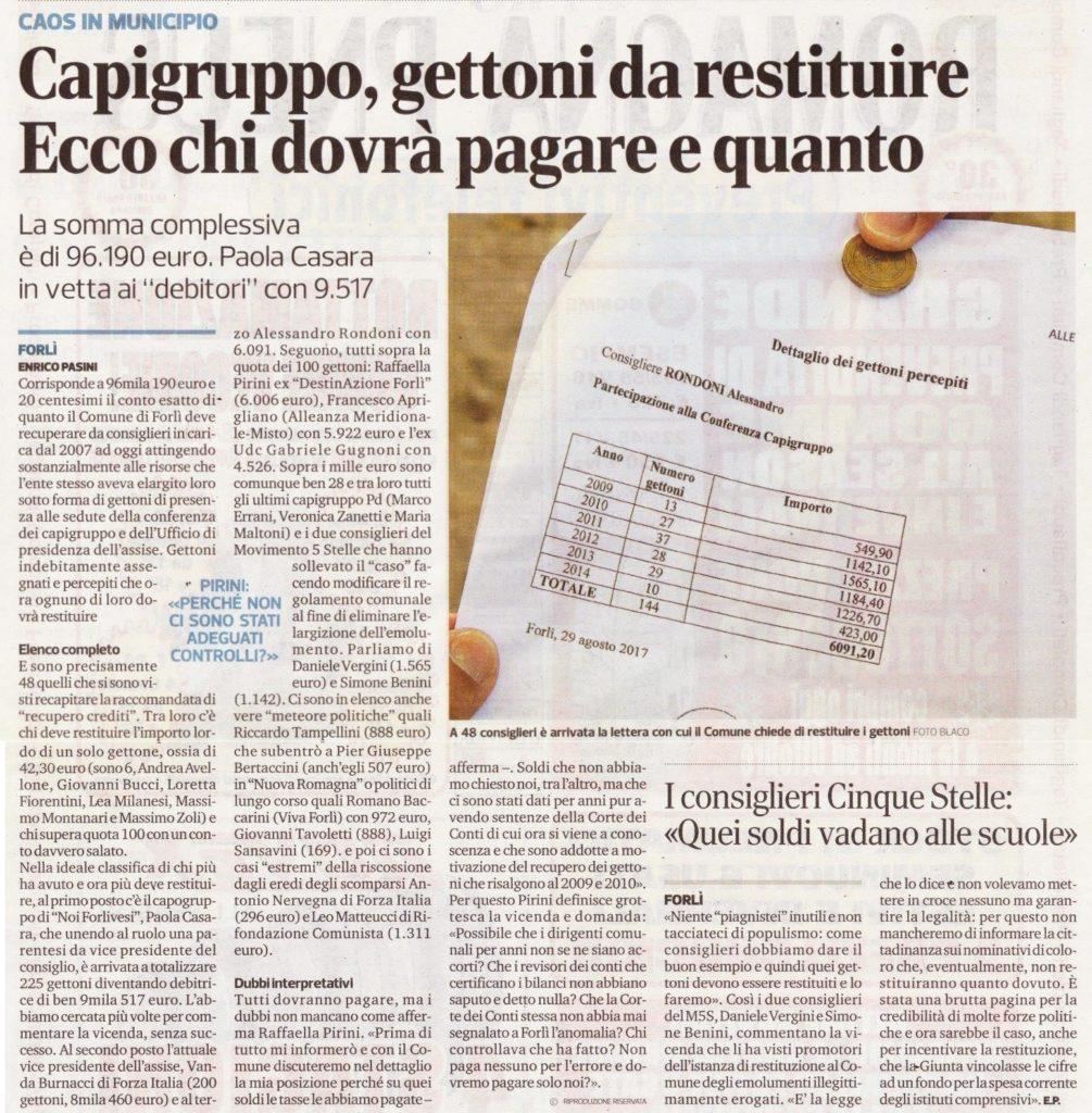 2017-09-07 - corriere - capigruppo gettoni da restituire ecco chi dovrà pagare e quanto