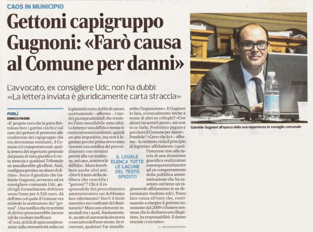2017-09-08 - corriere - gettoni capigruppo Gugnoni farò causa al comune per danni