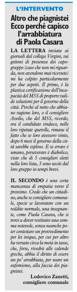 2017-09-16 - carlino - Zanetti altro che piagnistei ecco perchè capisco la Casara