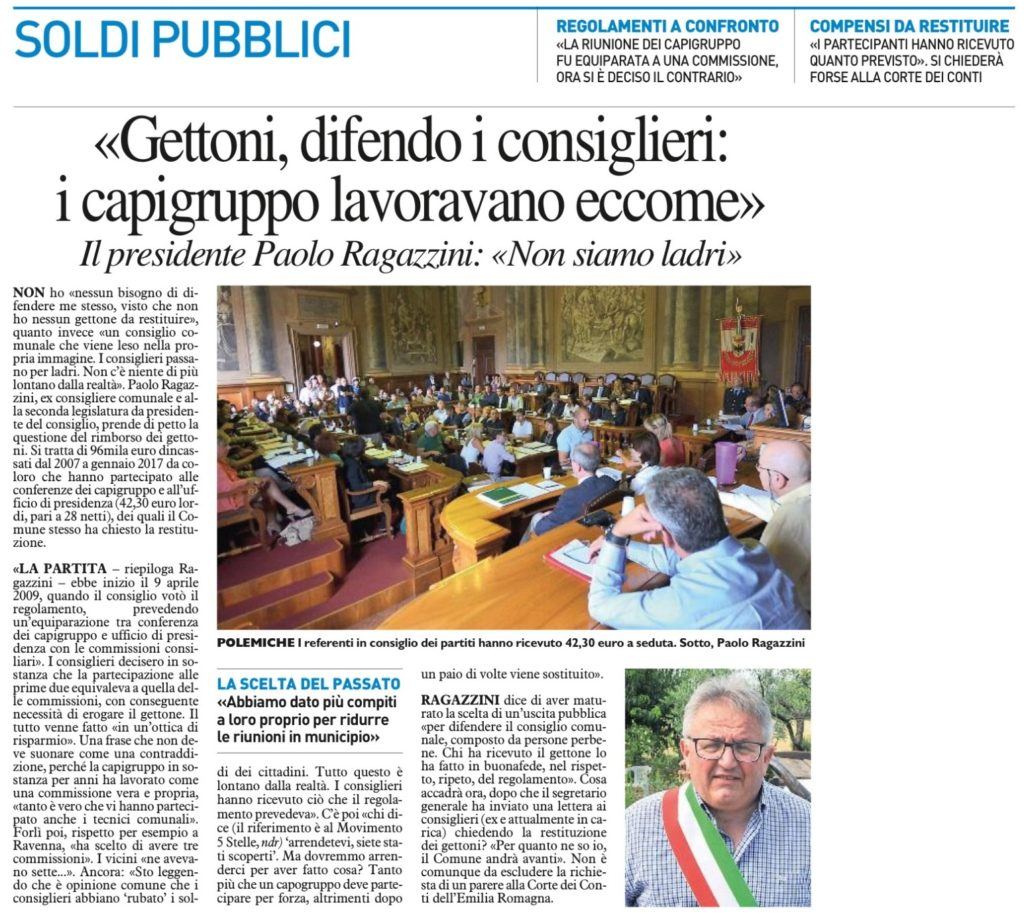 2017-09-21 - carlino - Gettoni, difendo i consiglieri i capigruppo lavoravano eccome