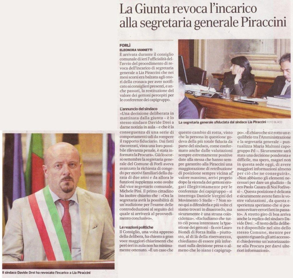 2017-11-15 - corriere - la giunta revoca l'incarico alla segretaria generale Piraccini