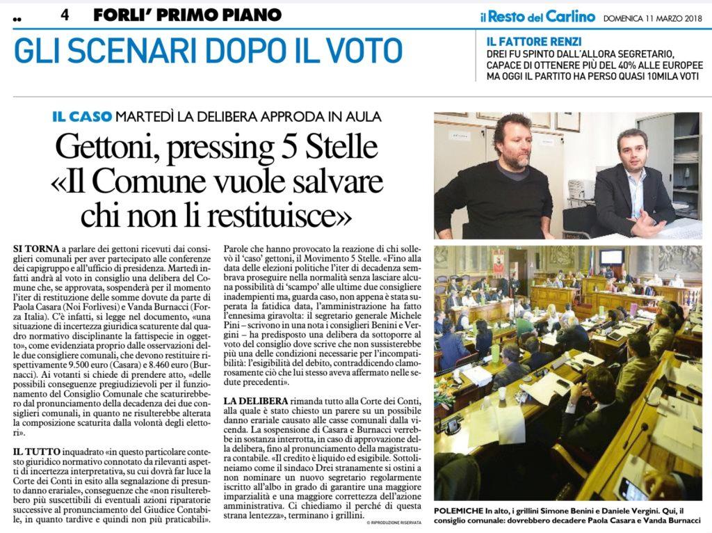 2018-03-11 - carlino - Gettoni, pressing 5 Stelle Il Comune vuole salvare chi non li restituisce